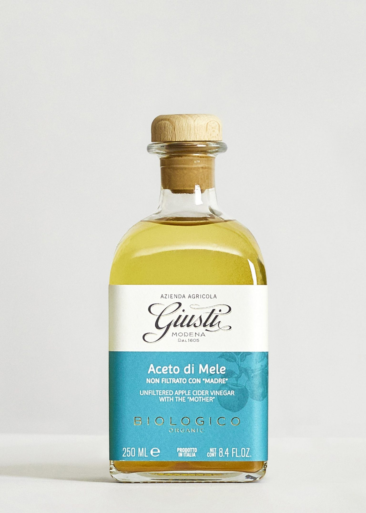 """Organic Unfiltered Apple Cider Vinegar with The """"Mother"""" 250ml - Acetaia Giusti"""